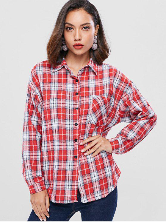 منقوشة انخفاض الكتف القميص - كستنائي أحمر حجم واحد