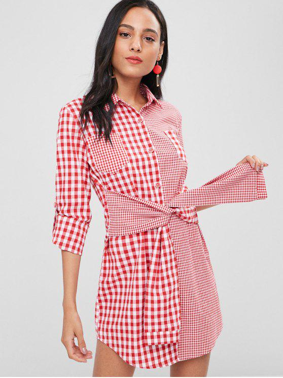 fancy Knotted Gingham Shirt Dress - LOVE RED M