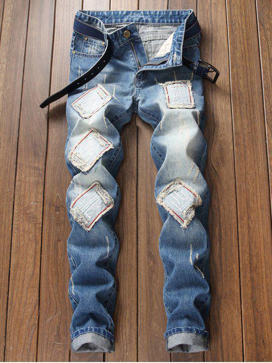 Caráteres chineses Desvaneceu-se Lavagem Rasgou Jeans - Azul 36