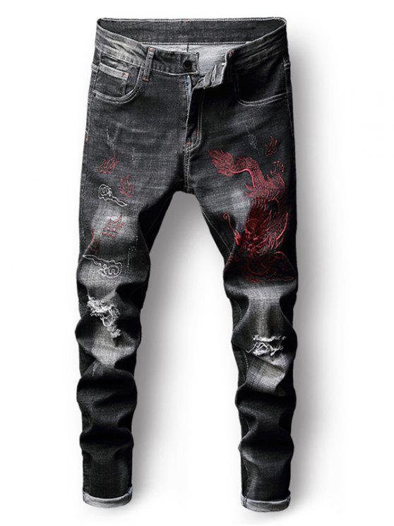 women Embroidery Dragon Zip Fly Destroyed Jeans - BLACK 38