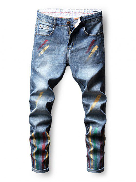 online Colorful Paint Zip Fly Nine Minutes of Jeans - BLUE 34