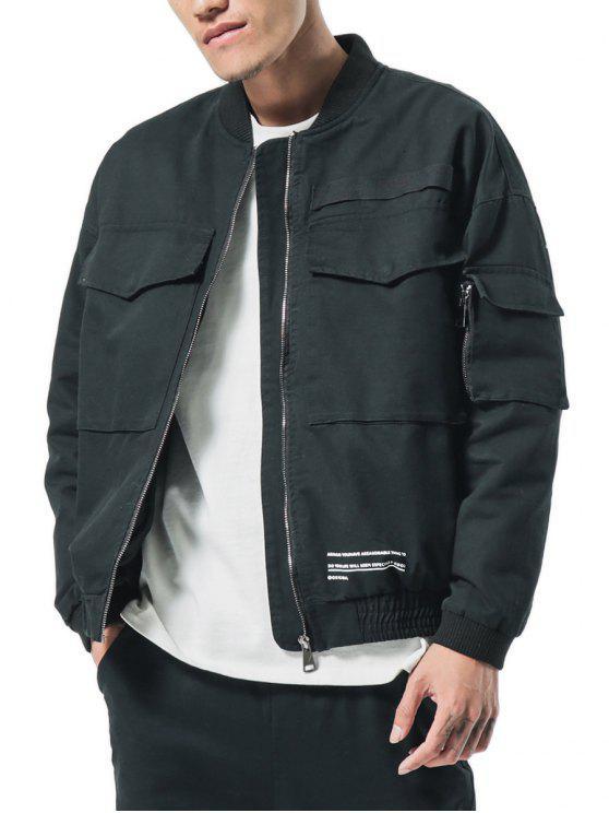 جيوب كبيرة التصحيح مطاطا الأصفاد الرمز البريدي سترة - أسود L