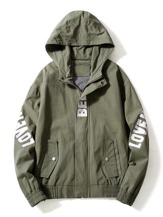 lady Letter Print Full Zipper Side Pocket Hooded Jacket - ARMY GREEN XS