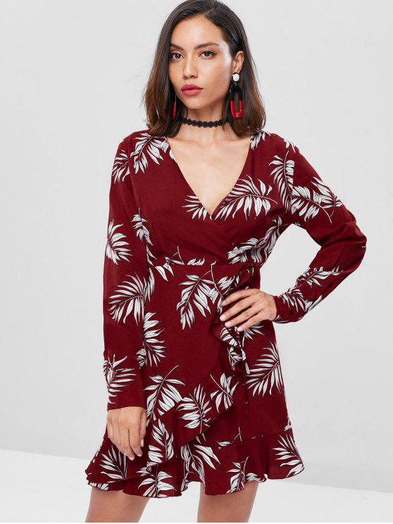 outfits Ruffles Leaves Surplice Dress - CHERRY RED L
