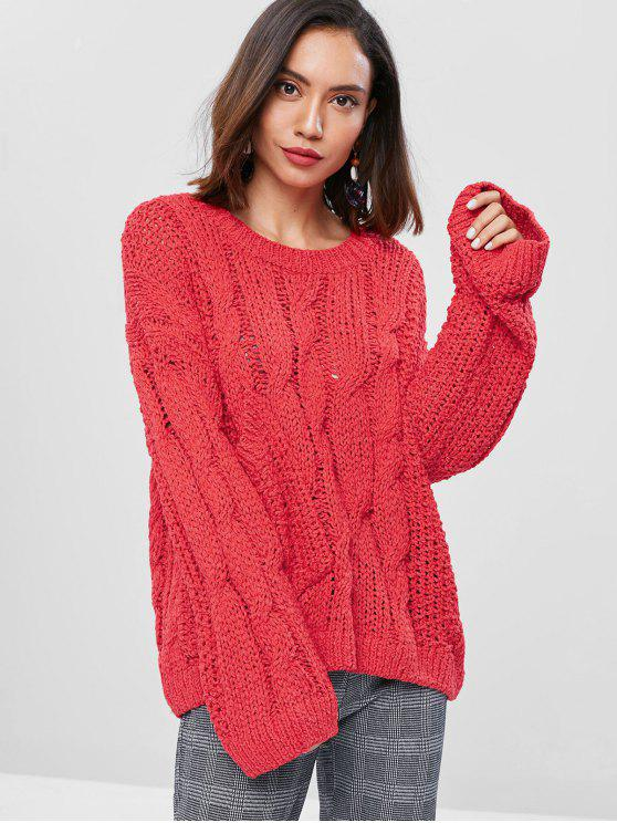 latest Cable Knit Panel Pocket Sweater - RED ONE SIZE