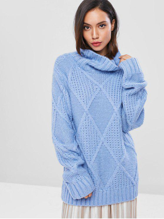 trendy Rhombus Funnel Neck Sweater - SKY BLUE ONE SIZE