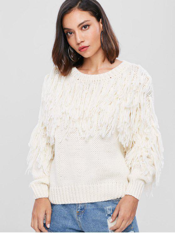 fashion Fringe Crew Neck Sweater - WHITE ONE SIZE
