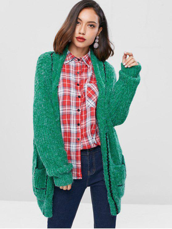 latest Color Block Chunky Knit Cardigan - SEA GREEN ONE SIZE