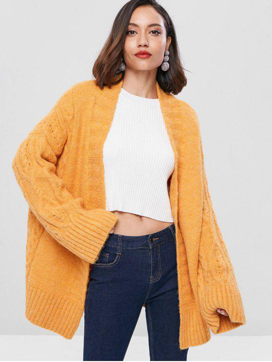 fancy Cable Knit Insert Cardigan - BRIGHT YELLOW ONE SIZE