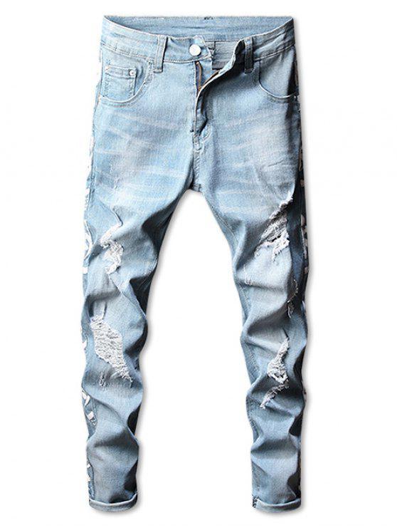 Jeans Strappati Grafici Con Cerniera - Blu Leggero 32