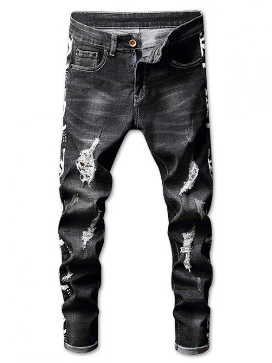Zerrissene verblasste Wäsche Brief Print Jeans - Schwarz 34