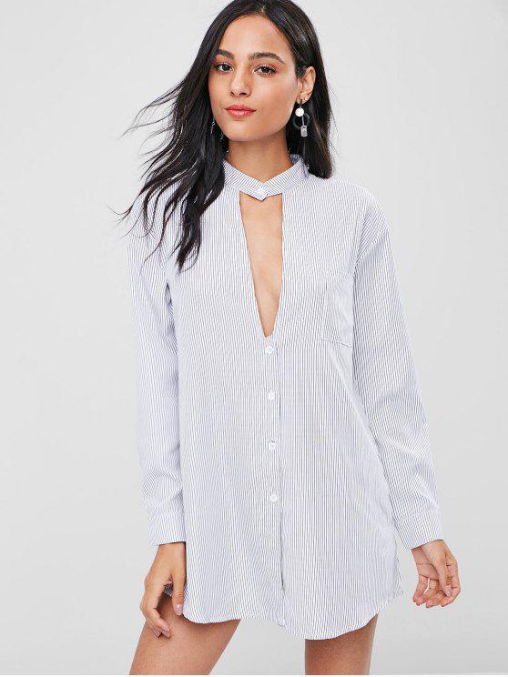 outfits Cut Out Striped Shirt Dress - WHITE L