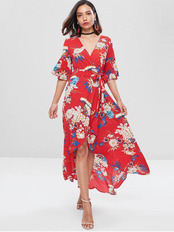 جرس كم فستان زهري ماكسي لف - أحمر M