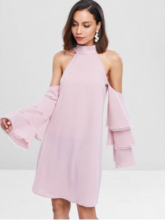 hot Flare Sleeve Cold Shoulder Mini Dress - PIG PINK M