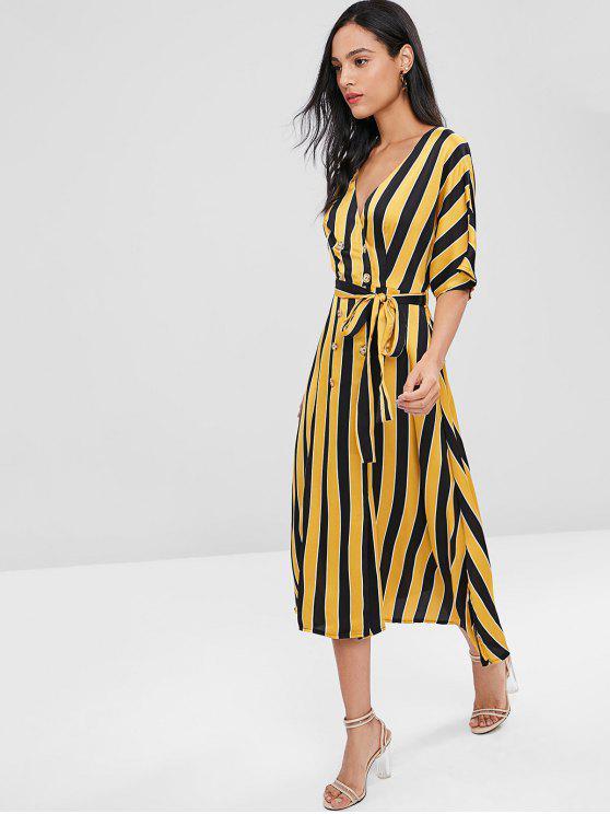 Double Breasted Stripes Vestido Midi - Multi L