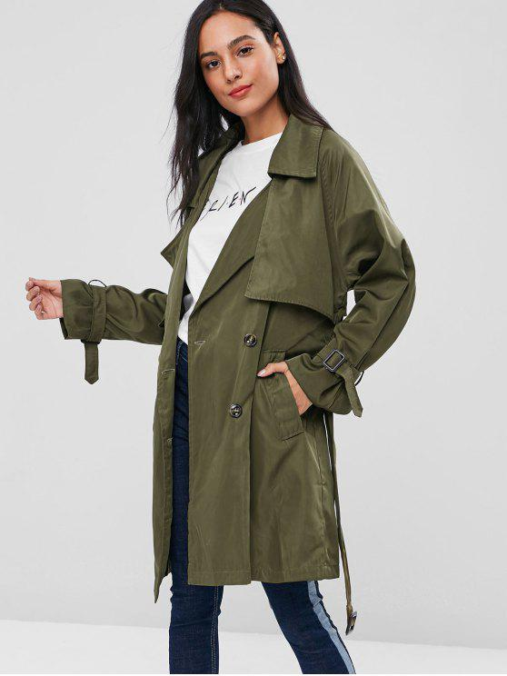 trendy Double Breasted Knee Length Trench Coat - ARMY GREEN S