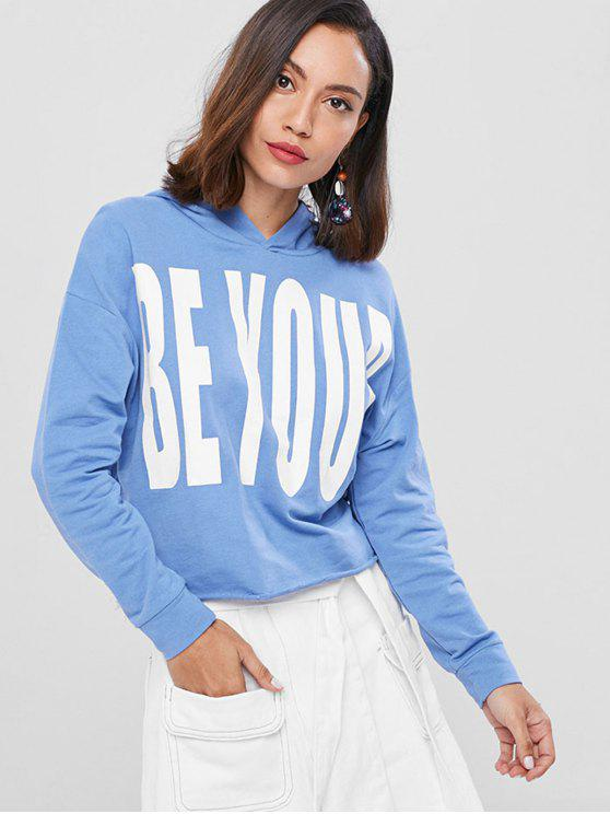 ladies Loose Letter Graphic Hoodie - DENIM BLUE ONE SIZE