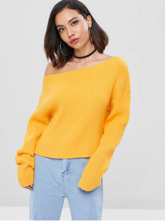 outfit Drop Shoulder Skew Collar Ribbed Sweater - BEE YELLOW ONE SIZE