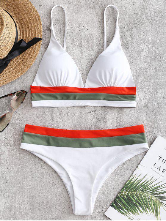 hot Low Cut Color Block Bikini Set - WHITE S