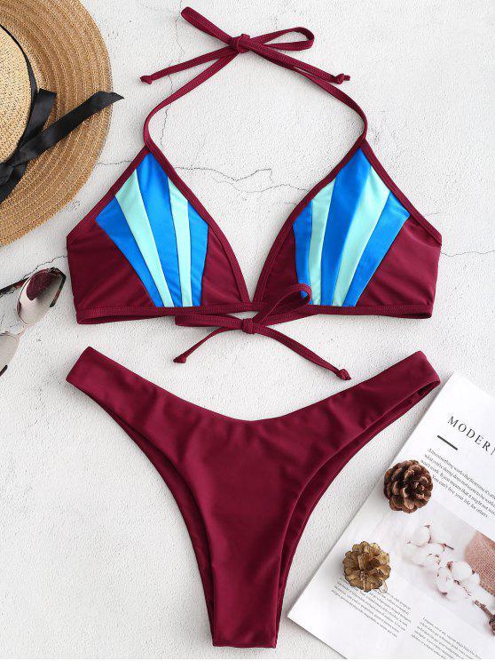 Bikini A Blocchi Di Colore Con Taglio Alto - Vino Rosso M