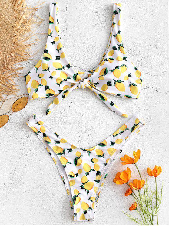 Conjunto de bikini de nudo con estampado de limón de corte alto - Amarillo M
