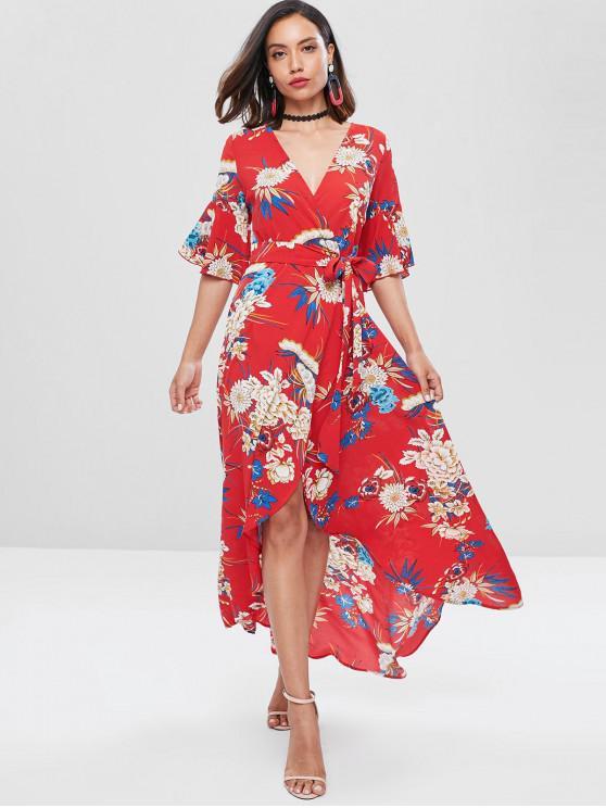 Maxi Robe Enveloppée Florale à Manches de Cloche - Rouge XL