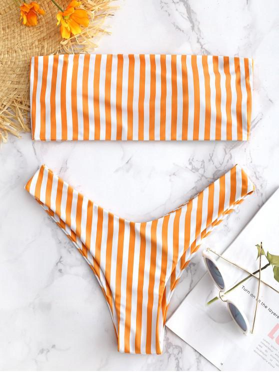 fancy Striped High Cut Bandeau Bikini Set - CANTALOUPE S