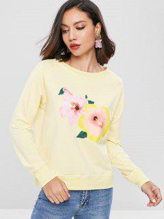 Raglan Sleeve Floral Sweatshirt - Corn Yellow M