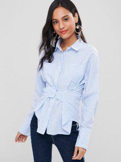 Striped Drop Shoulder Corset Shirt - Light Sky Blue L
