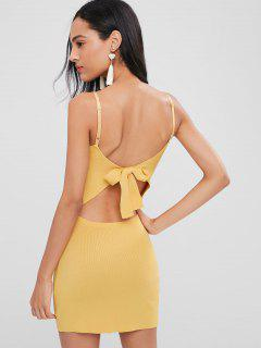 Bowknot Back Knitted Mini Dress - Goldenrod