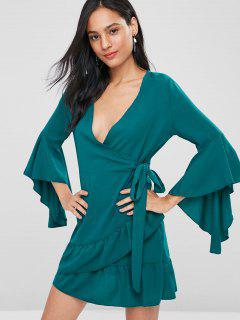 Bell Sleeve Ruffle Surplice Dress - Medium Aquamarine M