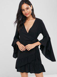 Bell Sleeve Ruffle Surplice Dress - Black S