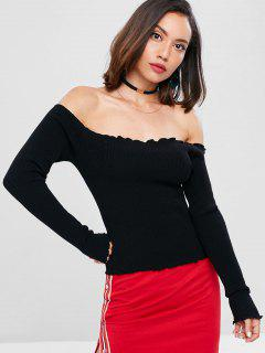 Ribbed Off The Shoulder Sweater - Black