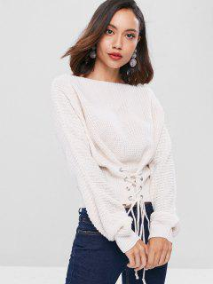 Lace Up Slash Neck Bandage Sweater - White