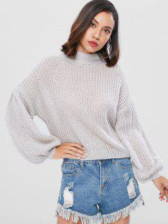 Gemütliches Bubble Ärmel Sweater - Graue Wolke
