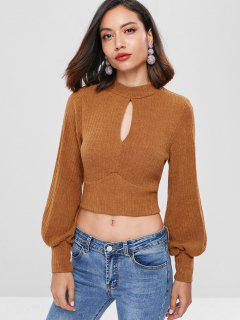 Ribbed Tie Back Keyhole Cropped Sweater - Chocolate L