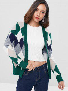 V Neck Argyle Cardigan - Multi