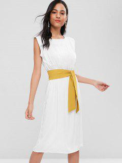 Belted Sleeveless Mid Calf Dress - White