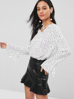 Flare Sleeve Polka Dot Cross Strap Blouse - White M