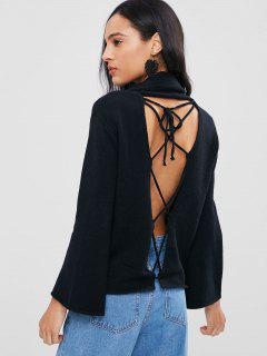 Back Lace-up Cowl Neck Sweater - Black