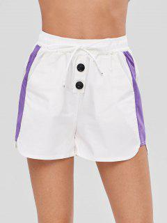 Color Block Drawstring Shorts - White S
