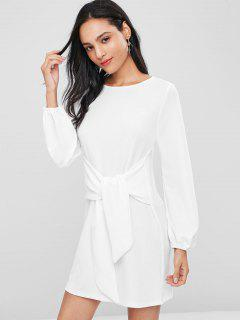Long Sleeve Tie Shift Knit Dress - White L