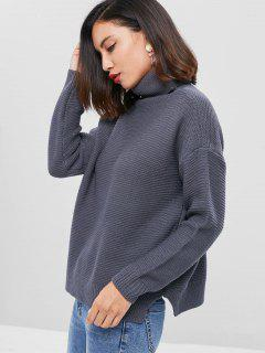 Drop Shoulder Turtleneck Chunky Sweater - Dark Gray