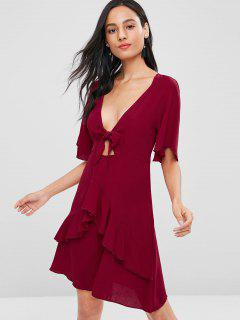 Bowknot Plunging Ruffle Dress - Chestnut Red S