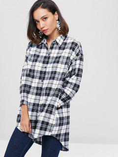 Checked Long Flannel Oversized Shirt - Black S