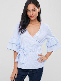 Surplice Striped Belted Blouse - Light Blue S