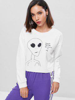 Raw Hem Alien Print Boxy Sweatshirt - White L