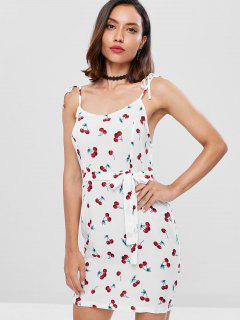 Cherry Print Tie Shoulder Mini Dress - White L