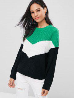 Color Block Drop Shoulder Sweater - Multi