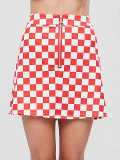 Zip Front Checkered Skirt - Fire Engine Red L